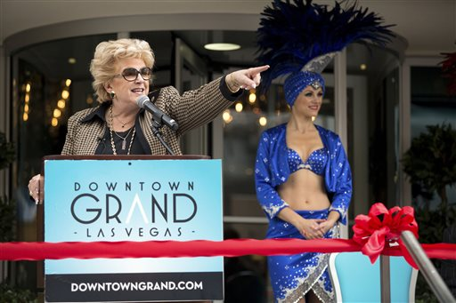 ASSOCIATED PRESSLas Vegas Mayor Carolyn Goodman addresses audience members during the ribbon-cutting ceremony of the Downtown Grand Las Vegas, located at 206 N. 3rd Street, Tuesday, Nov. 12, 2013. The urban hotel-casino, which opened in October, joins the Downtown3rd community in the former location of the Lady Luck.(AP Photo/Las Vegas Review-Journal, Samantha Clemens)  LOCAL TV OUT; LOCAL INTERNET OUT; LAS VEGAS SUN OUT